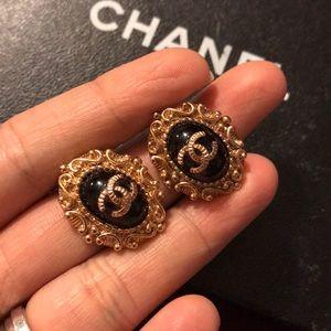 Chanel vintage rose gold stud earrings